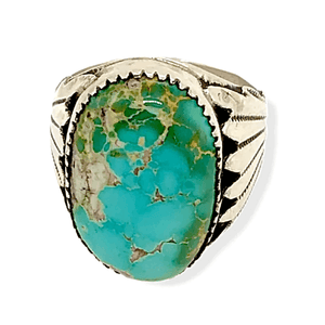 Native American Ring - Zuni Royston Turquoise And Sterling Silver Ring -Robert Leekya