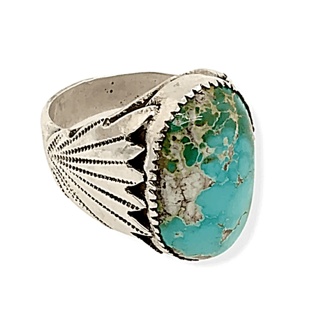 Image of Native American Ring - Zuni Royston Turquoise And Sterling Silver Ring -Robert Leekya