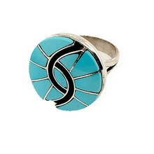 Load image into Gallery viewer, Native American Ring - Zuni Sleeping Beauty Turquoise Inlay Ring - Amy Quandelacy