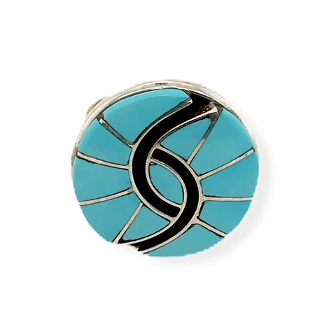 Image of Native American Ring - Zuni Sleeping Beauty Turquoise Inlay Ring - Amy Quandelacy