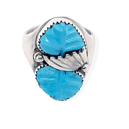 Native American Ring - Zuni Turquoise Mens Ring With Leaf Work