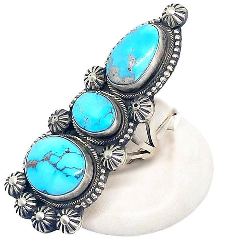 Navajo 3 Stone Golden Hills Turquoise Ring Triangular