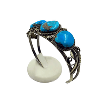 Load image into Gallery viewer, Navajo 3 Stone Turquoise Pawn Bracelet
