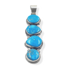 Load image into Gallery viewer, Navajo 4 Stone Kingman Turquoise Pendant