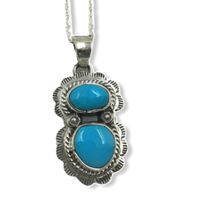 Load image into Gallery viewer, Navajo Blue Bird Turquoise Pendant W/ Chain