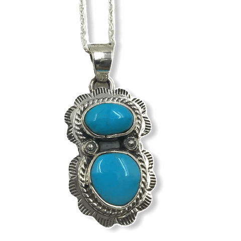 Image of Navajo Blue Bird Turquoise Pendant W/ Chain