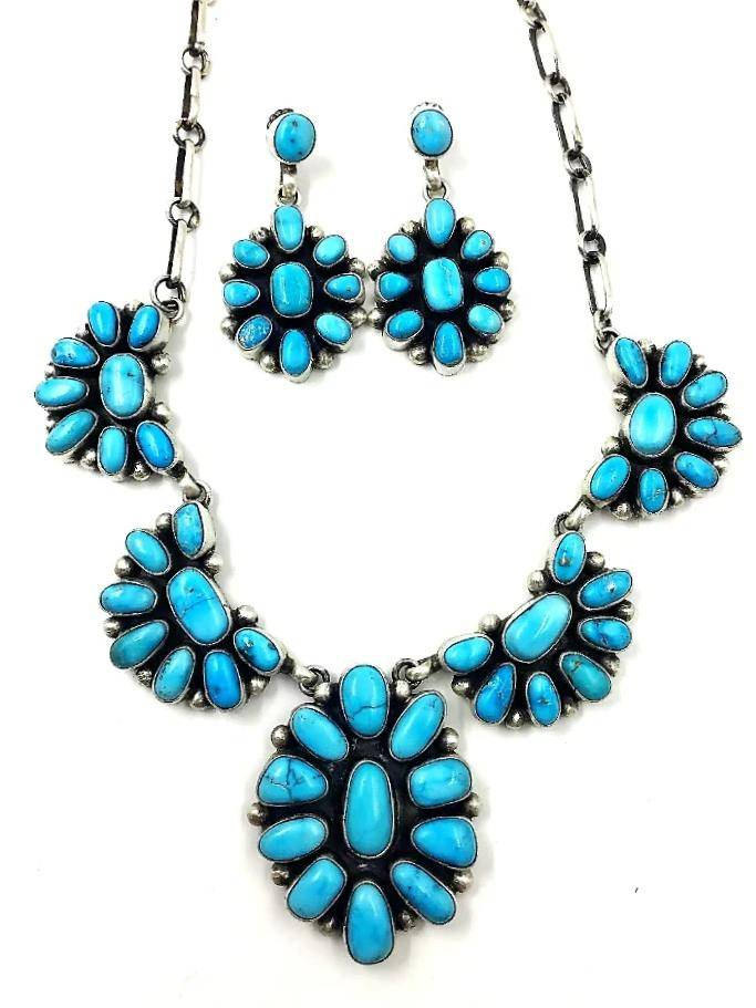 Navajo Cluster Necklace- Kingman Turquoise
