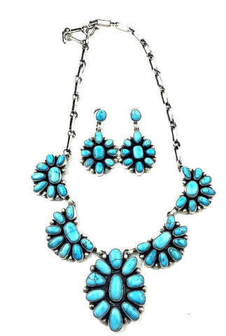 Image of Navajo Cluster Necklace- Kingman Turquoise
