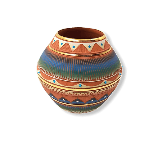 Image of Navajo Etched Pot W/ Gold Pot By Lori Smith
