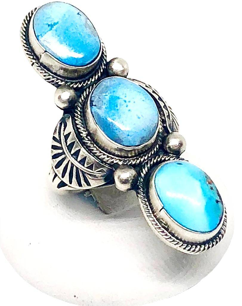 Navajo Golden Hills Turquoise 3 Stone Ring Narrow