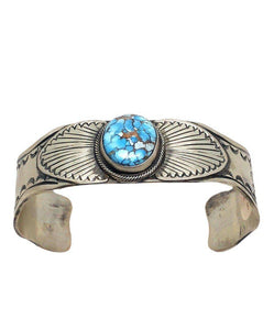 Navajo Golden Hills Turquoise Bracelet Stamped, Single Stone