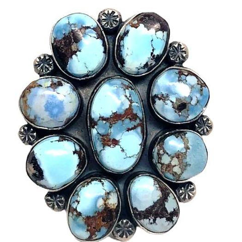 Image of Navajo Golden Hills Turquoise Cluster Ring