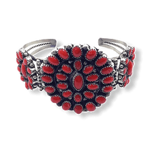 Load image into Gallery viewer, Navajo High Grade Coral Cluster Bracelet