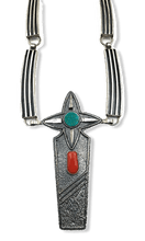 Load image into Gallery viewer, Navajo Jack Tom Turquoise and Coral Necklace