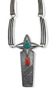 Navajo Jack Tom Turquoise and Coral Necklace