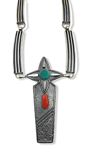 Image of Navajo Jack Tom Turquoise And Coral Necklace