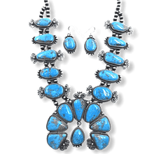 Load image into Gallery viewer, Navajo Kingman Squash Blossom Necklace