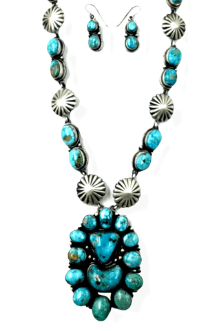 Image of Navajo Kingman Turquoise Concho Necklace P. Johnson