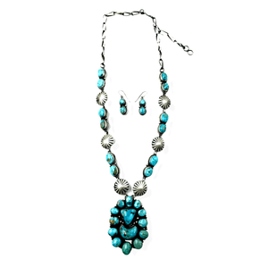 Navajo Kingman Turquoise Concho Necklace P. Johnson