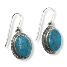 Load image into Gallery viewer, Navajo Kingman Turquoise Hook Earrings