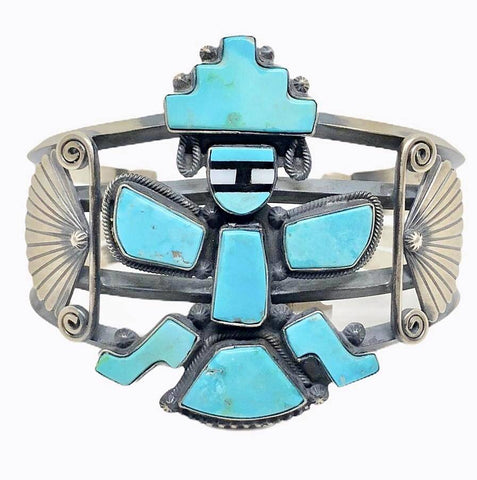 Image of Navajo Kingman Turquoise Kachina Dancer Cuff