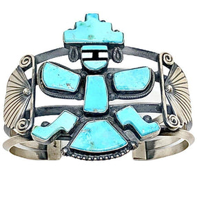 Navajo Kingman Turquoise Kachina Dancer Cuff