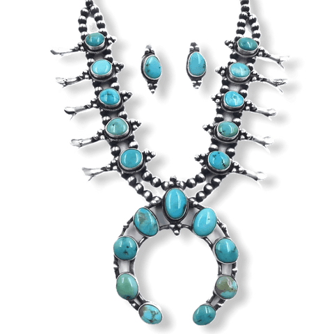 Image of Navajo Kingman Turquoise Squash Blossom Necklace