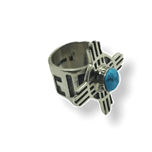 Load image into Gallery viewer, Navajo Kingman Turquoise Zia Symbol Ring