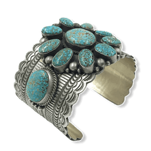 Load image into Gallery viewer, Navajo Kingman Web Turquoise Bracelet -Wide