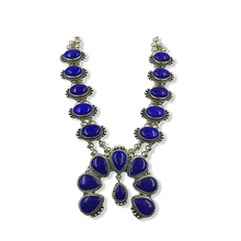 Load image into Gallery viewer, Navajo Lapis Squash Blossom Necklace