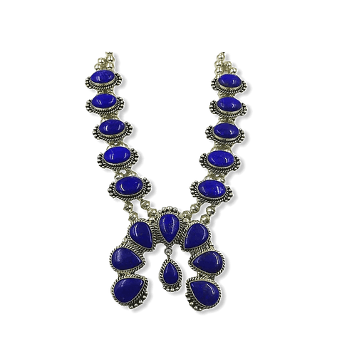 Image of Navajo Lapis Squash Blossom Necklace