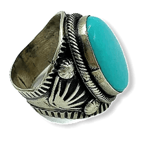 Load image into Gallery viewer, Navajo Large Stone Turquoise Ring-D. Mike