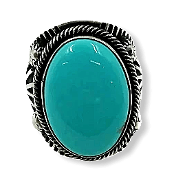 Navajo Large Stone Turquoise Ring-D. Mike