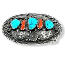 Load image into Gallery viewer, Navajo Old Pawn Turquoise and Coral Belt Buckle-Leaf Work