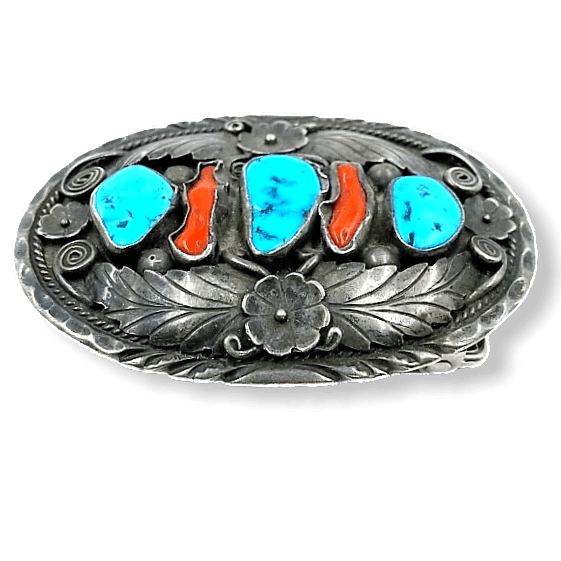 Navajo Old Pawn Turquoise and Coral Belt Buckle-Leaf Work