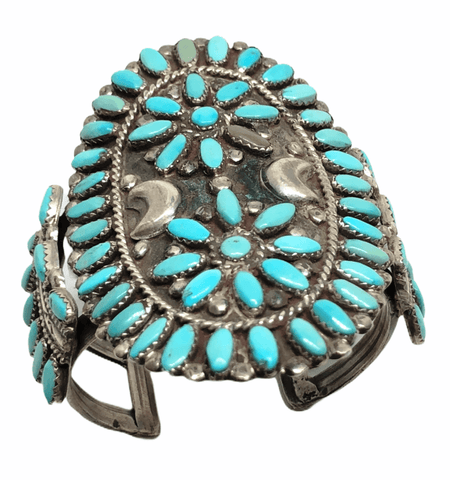 Image of Navajo Old Pawn Turquoise Cluster Bracelet