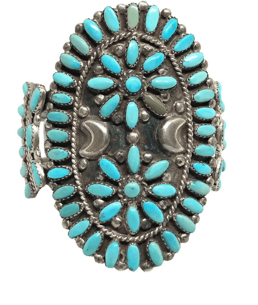 Navajo Old Pawn Turquoise Cluster Bracelet