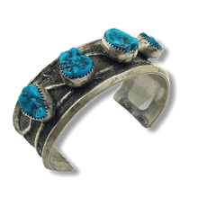 Load image into Gallery viewer, Navajo Pawn Raised Sleeping Beauty Turquoise Cuff