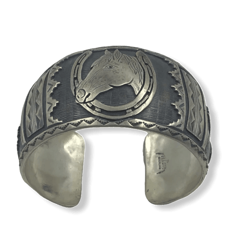 Image of Navajo Pawn Silver Horse Bracelet