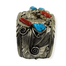 Load image into Gallery viewer, Navajo Pawn Turquoise & Coral  Bear Bracelet