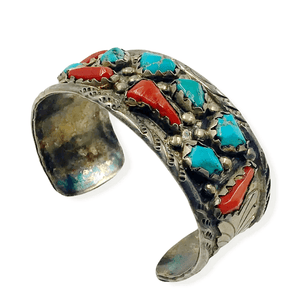 Navajo Pawn  Turquoise & Coral Bracelet