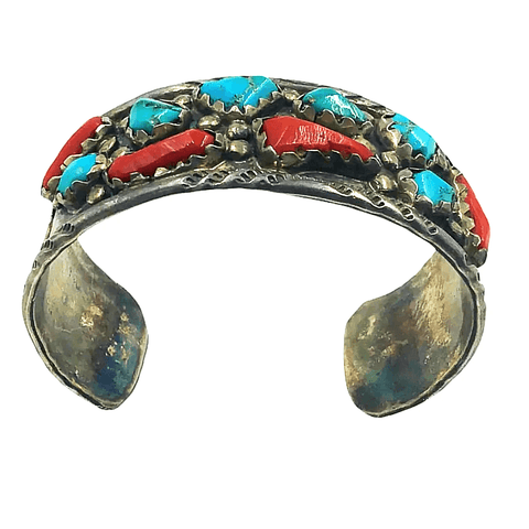 Image of Navajo Pawn  Turquoise & Coral Bracelet