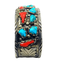 Load image into Gallery viewer, Navajo Pawn  Turquoise & Coral Bracelet