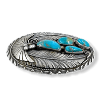Load image into Gallery viewer, Navajo Pawn Turquoise Leaf Belt Buckle
