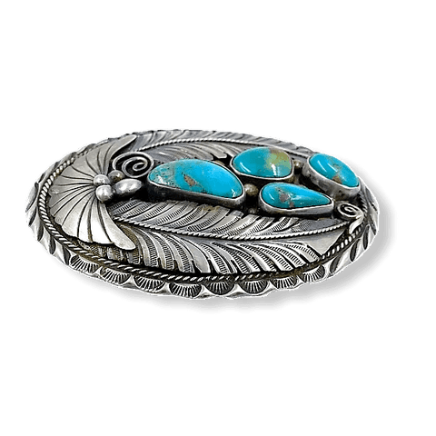 Image of Navajo Pawn Turquoise Leaf Belt Buckle