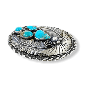 Navajo Pawn Turquoise Leaf Belt Buckle