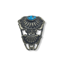 Load image into Gallery viewer, Navajo Pawn Turquoise Stamped Bracelet