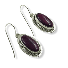 Load image into Gallery viewer, Navajo Purple Spiny Oyster Earrings