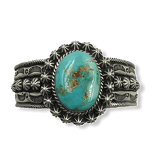 Load image into Gallery viewer, SOLD Navajo Royston Turquoise Bracelet W/ Stamping