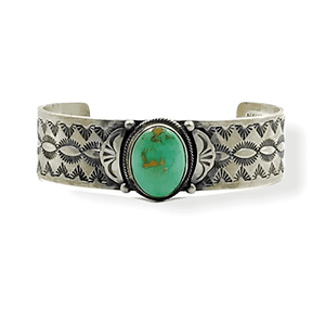 Navajo Royston Turquoise Hand Stamped Bracelet